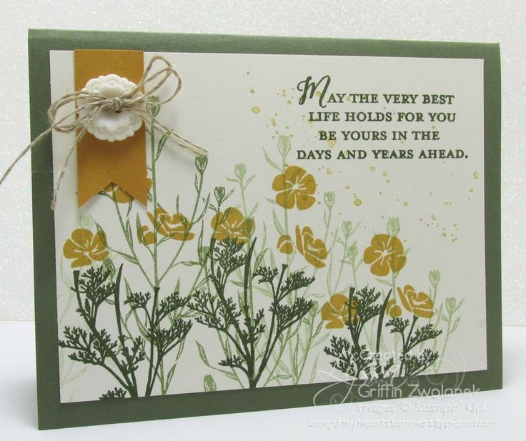 STAMPS: Wild About Flowers, Gorgeous Grunge. PAPER: Mossy Meadow, Always Artichoke, Delightful Dijon, Very Vanilla. INK: Mossy Meadow, Delightful Dijon. OTHER: Banner Triple Punch, Very Vintage Designer Buttons, Linen Thread.
