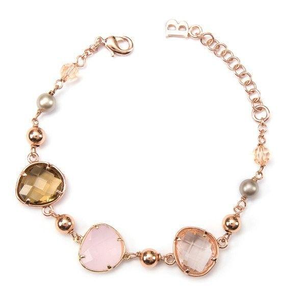 Bracciale Boccadamo in bronzo placcato oro rosa con cristalli e perle Svarowski ispirato ai colori caldi dell'autunno dorato, bronzo e rosa. Chiusura a moschettone, lunghezza regolabile.  #bracciale #braccialetto #boccadamo #pietre #pietrenaturali