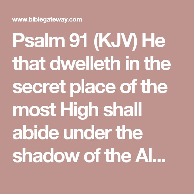 Psalm 91 (KJV)  He that dwelleth in the secret place of the most High shall abide under the shadow of the Almighty.  2I will say of the Lord, He is my refuge and my fortress: my God; in him will I trust.