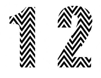 Black & White Chevron Numbers 1-10 | TpT Made by Montgomery