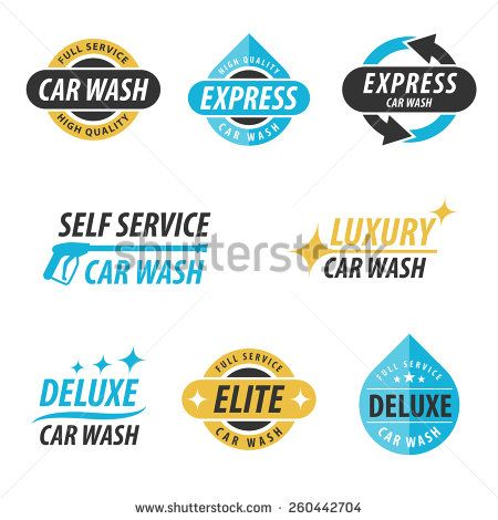 The 25 best express car wash ideas on pinterest steam car wash vector set of car wash logotypes for express full service self service solutioingenieria Choice Image