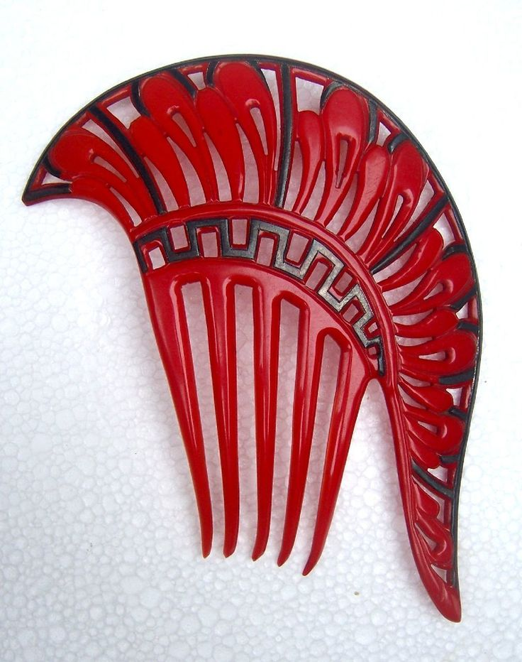Art Deco Hair Comb Bright Red Asymmetric Hair Accessory from spanishcomb on Ruby Lane