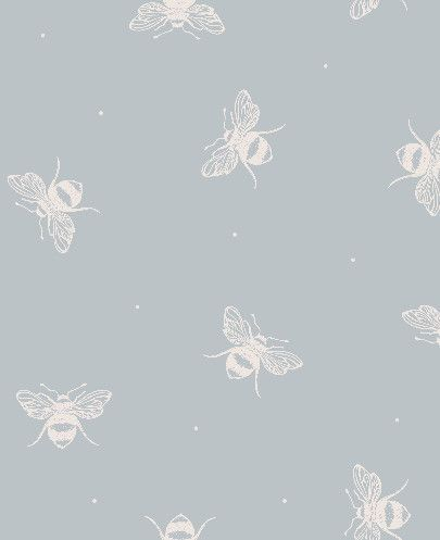 Peony  Sage - Busy Bees Wallpaper Egg Blue