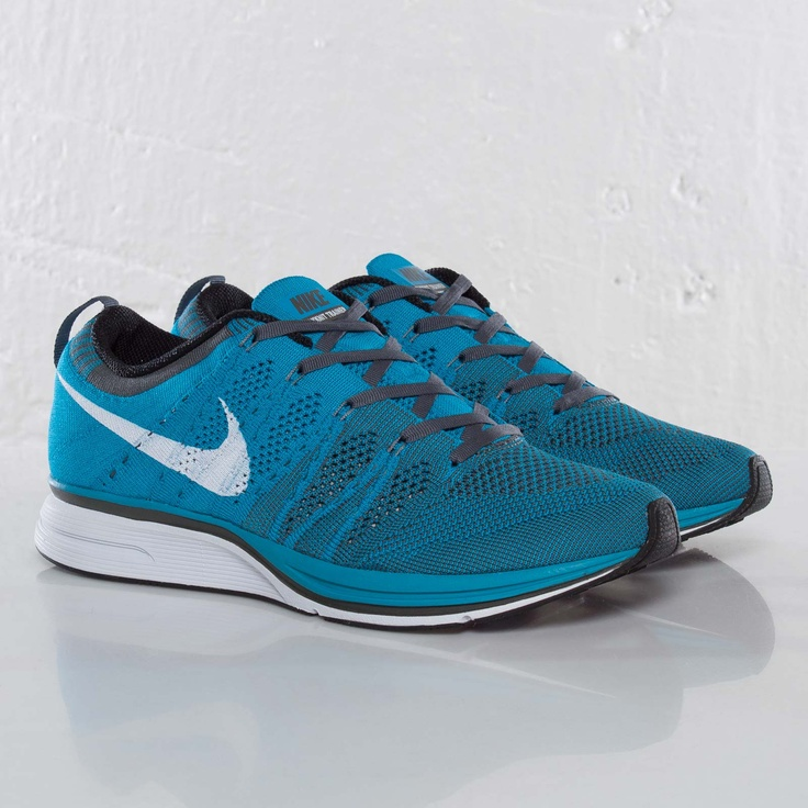 Neo Turquoise laces a new colorway of the Nike Flyknit Trainer. This  training shoe features Flyknit technology and a bright upper.