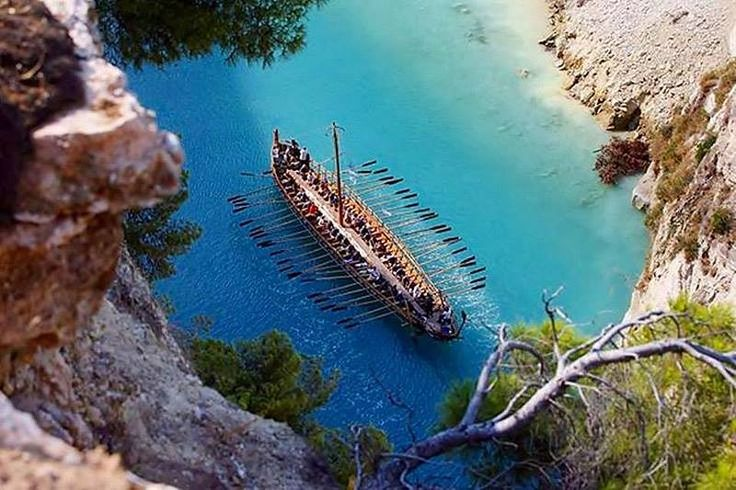 """A replica of """"Argo"""" ship, sailing the Corinth canal. According to Greek mythology """"Argo"""" was the legendary ship on which Jason and the Argonauts sailed from Iolcos to the Black Sea to retrieve the Golden Fleece. >  www.facebook.com/IncroyableGrece?fref=photo"""