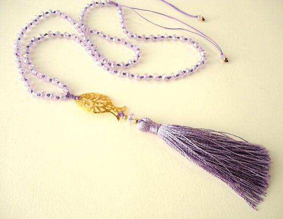 Klosje van de ketting lavendel paarse ketting door CreationsByAlina