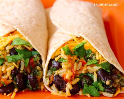 27 Healthy and Delicious Brown Rice Recipes: Spinach & Bean Burrito Wrap