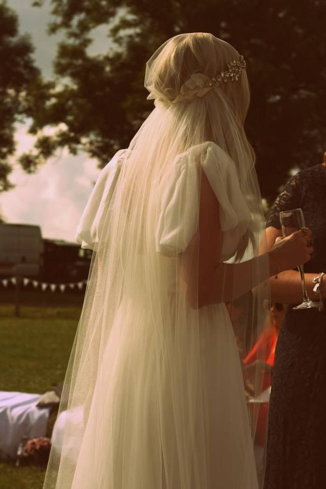 Sarah in her Juliet cap veil - from the back