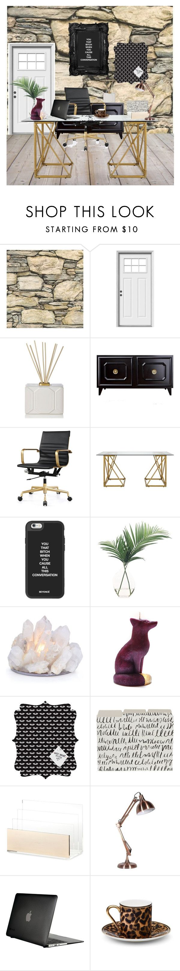 """The office"" by britt-catlynne-weatherall ❤ liked on Polyvore featuring interior, interiors, interior design, home, home decor, interior decorating, Craftsman, Nest Fragrances, Selamat and NDI"
