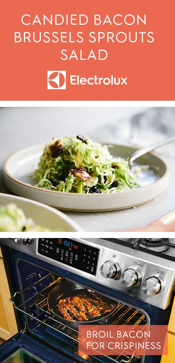 Candied bacon gives this unique brussels sprout salad from Electrolux and @ashrod a punch of flavor without going overboard. Top it off with dried cranberries for a perfect side dish! Another tip -- broil bacon in your oven for optimal crispiness. Click for the full recipe.