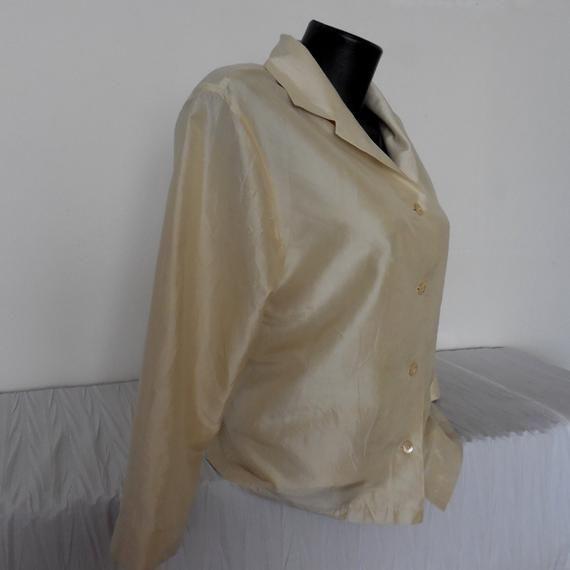 Vintage Silky Women/'s Blouse