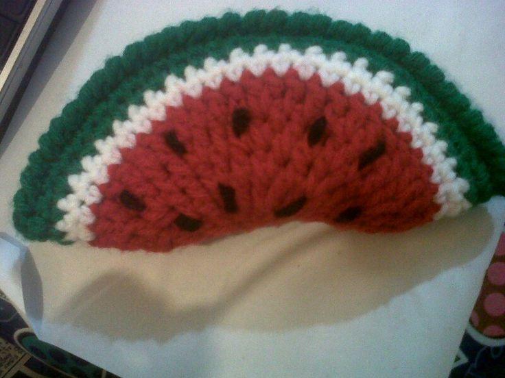 Porta mouse sandía a crochet