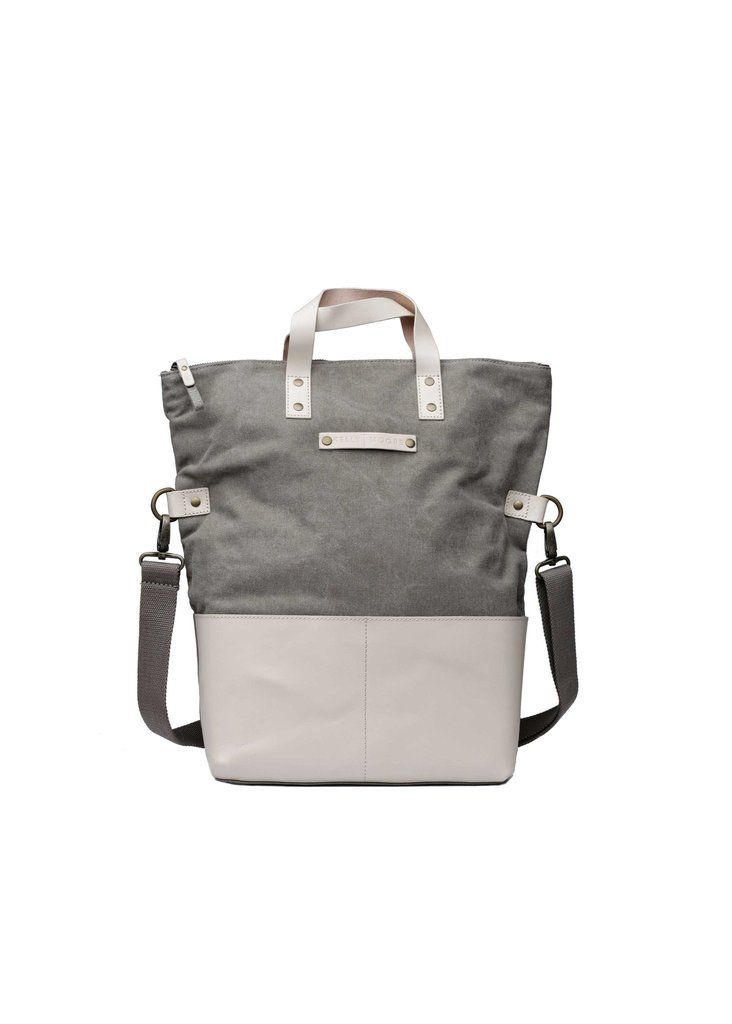 Kelly Moore Bag | Collins in Gray Canvas & Brown Leather