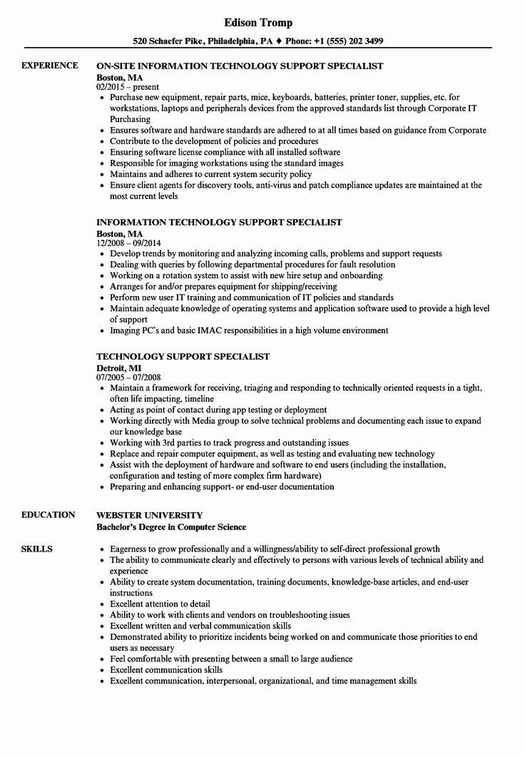 Customer Support Specialist Resume Fresh Technology