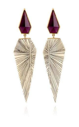 These One of a Kind, deco- inspired, earrings from the imagination of Monique Pean make a serious statement. This style features a rhodolite stud set in 18k recycled yellow gold and a intricately carved, fossilized woolly mammoth and scrimshaw drop that is utterly unique. For pierced ears.Made in USAPlease note, this item is final sale