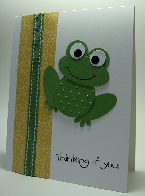 Slightly different take on the punch art frog for chocolate nugget holder or can just use the front to put on a card. Use the circle punch instead of oval for the body, draw the mouth in and use the flower punch for the feet.