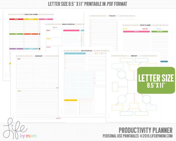 PRODUCTIVITÉ PLANNER 85 x 11 taille lettre PDF A4 3 par LifeByMom
