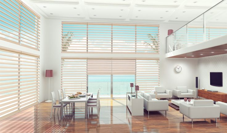 PIROUETTE® Shadings stylishly combine the personality and grace of two fabric ranges which allow light and privacy to be controlled in an entirely unique, new way.  Luxaflex Blinds.