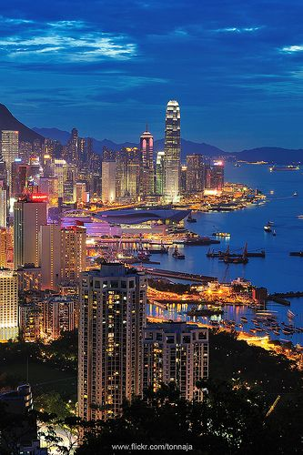 View of Victoria Harbour as taken from Braemar Hill, Hong Kong
