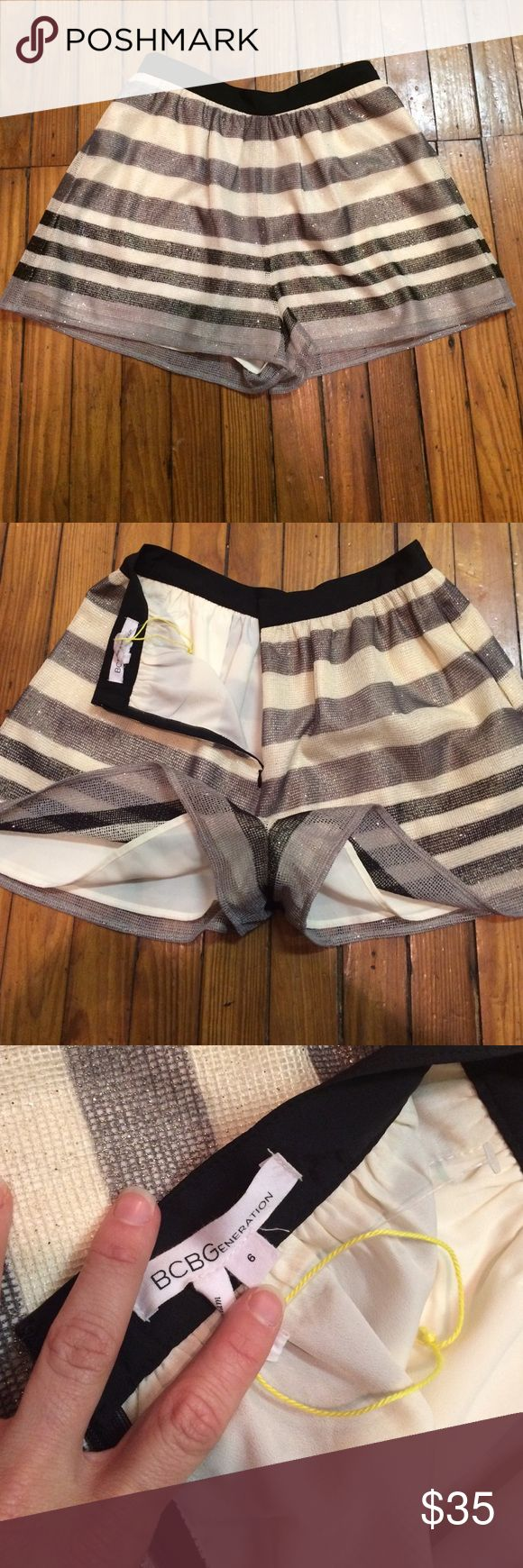 BCBG Dress shorts Zip up in back dress shorts, can dress up or down cream black grey with silver accents BCBGeneration Shorts