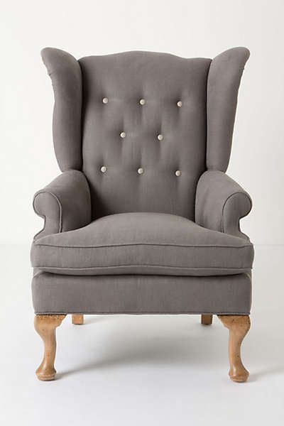 Anthropologie - Howell Wingback, Linen wing chair Somethingvintage.com.au