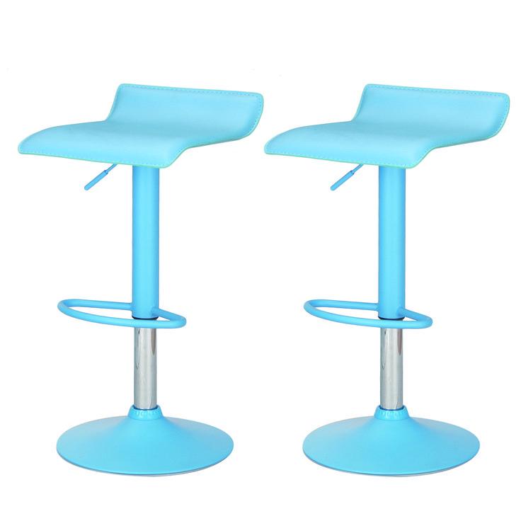 Joveco Pine Blue Acrylic Hydraulic Lift Adjule Micro Back Barstool Chrome Finish Pedestal Base Set