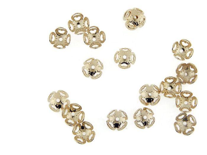 CAPCO03 Capuchón en chapa de oro 14k, ideal para para cuentas redondas, medidas 8mm, precio x gramo $3.10 pesos, precio medio mayoreo (100 gramos)$2.90, precio mayoreo (250 gramos)$2.70, precio VIP(500 gramos) $2.50