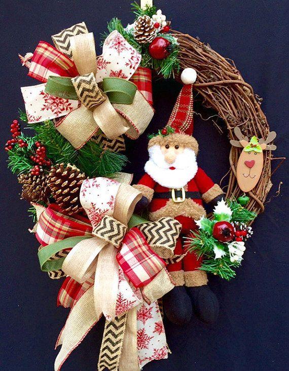 Woodland Santa Grapevine Wreath / Santa by SouthernWhimsyStyle