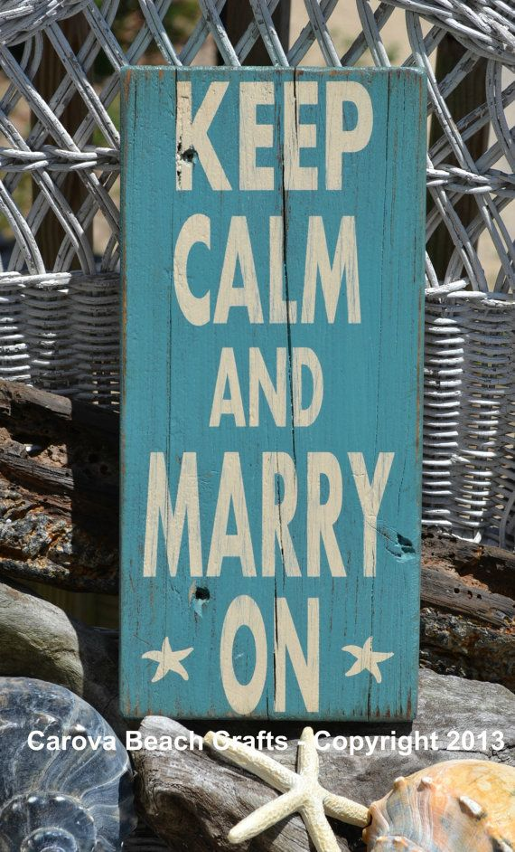 Beach Wedding - Beach Wedding Sign - Beach Decor - Keep Calm Marry On - Starfish - Coastal Wedding - Beach Theme - Painted, No Vinyl