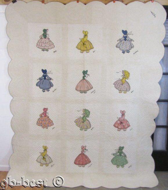 SHOW STOPPING D1936 Ladies Applique Antique QUILT Ruffles Bonnets BOOK WORTHY