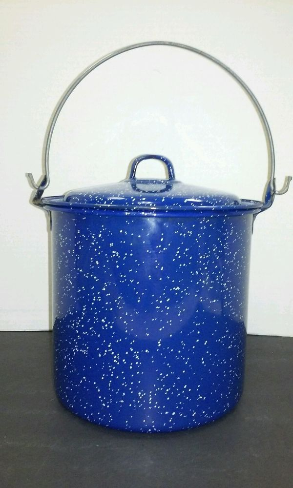 Dark Blue Enamel Cooking Covered Pot With Handle Camping