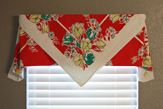 Vintage tablecloth as curtain, no sew!