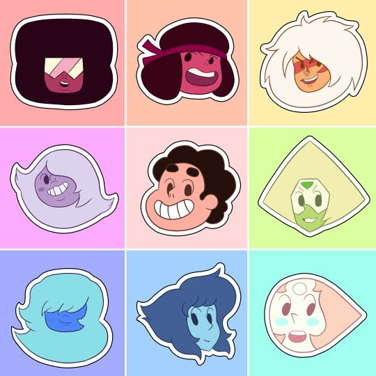 """Simplified heads of various characters from the show Steven Universe. In one episode, the character Pearl (second one) presents a sticker of her face in the style and calls them """"Pearl points."""" This ended up spawning various alterations online based on many other characters. Source: http://mokkaquillart.tumblr.com/post/148533834899/obsessedwithamedot-mokkaquillart-which-gem"""