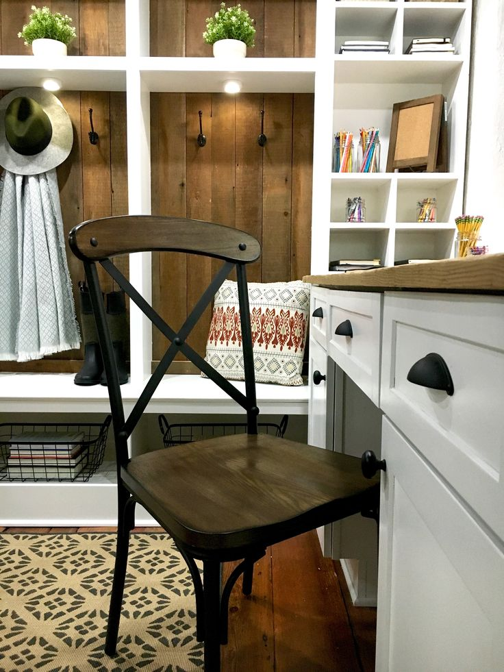 Original portions of old stone homes are the best.  Custom built in mudroom cubbies skinned with reclaimed wood.  Stone House Revival Season Two.