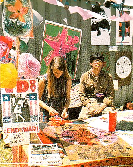 Poster booth at the Monterey Pop Festival, June 1967. Image scanned by Sweet Jane.