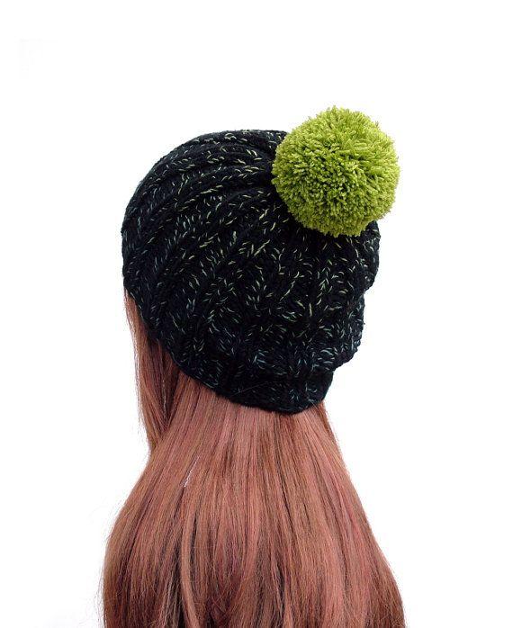 Chunky winter hat, black and ombre green hand knit pom pom beanie by Rukkola on Etsy. #pompomhat #winterhat #handknithat