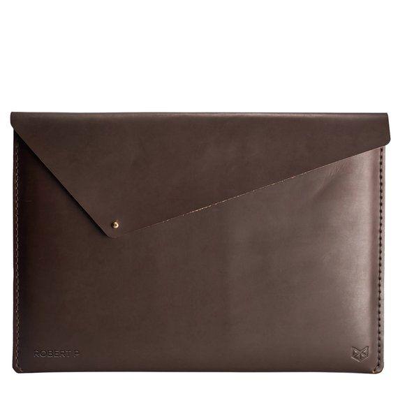 Brown Leather MacBook Pro Case, 12 13 15 Inch Macbook Pro Retina Touch Bar Sleeve, Travel Apple Laptop Protective Folio. Monogram Mens Gift