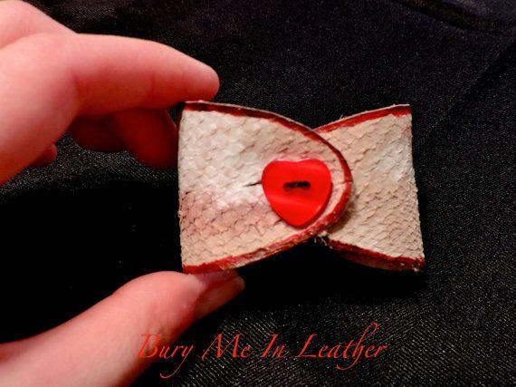 Zombie Flesh Bow Wrist Cuffs with Heart Button by BuryMeInLeather