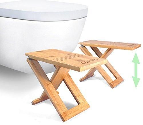 NEW - Relaxx Folding Squatty Toilet Stool - Bamboo - TWO Portable & Adjustable Height Potty Footstools: 7 8 and 9 inch - Foldable and Storable Bathroom Step