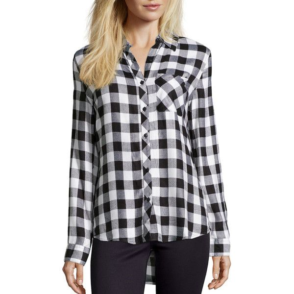 Wyatt White And Black Plaid Flannel Button Front Shirt (362601402) (£47) ❤ liked on Polyvore featuring tops, flannel shirt, button front shirt, woven shirt, long sleeve tops and white and black plaid shirt