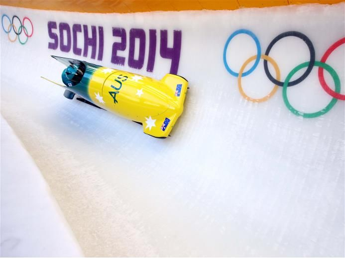 Astrid Radjenovic and Jana Pittman of Australia practise a bobsleigh run ahead of the Sochi 2014 Winter Olympics at the Sanki Sliding Center.