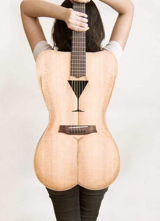 Female body shaped guitar by Paul Celentano.    Materials:  spruce top  sapele mahogany back and sides  mahogany neck with truss rod  rosewood fretboard  lacewood head stock veneer    COSTS: $2,700: Female Shape, String Acoustic, Music Instruments, Female Body, Body Shape, Acoustic Guitar, Female Form, Sexy Guitar, Guitar Body