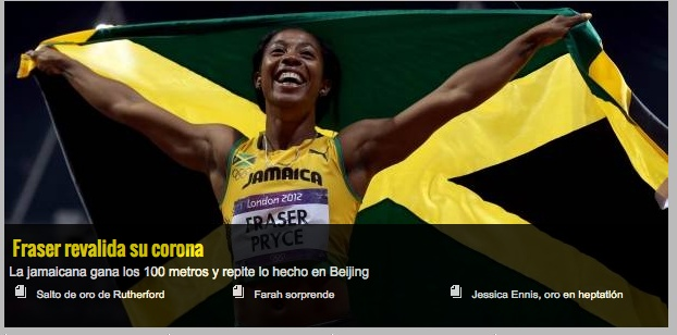408a: First image of a non Mexican athlete on the slide show. Celebratory image of female Jamaican athlete holding her flag above her head. Her name is clearly put into perspectives as well as the country she is representing. The photo conveys a scene of victory, happiness and success. The photo was taken from a direct low angle to show the superiority as well as power and strength of the athlete reflected mainly in her muscly hands.
