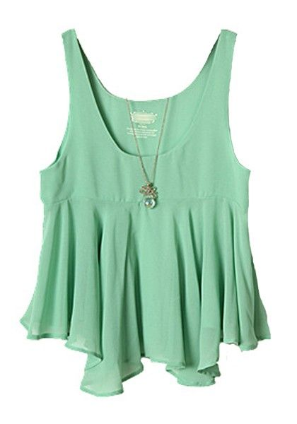 LOVE this Mint Green Color! Mint Green Pearl Sleeveless Loose Chiffon Pullover Blouse #Mint_Green #Fashion