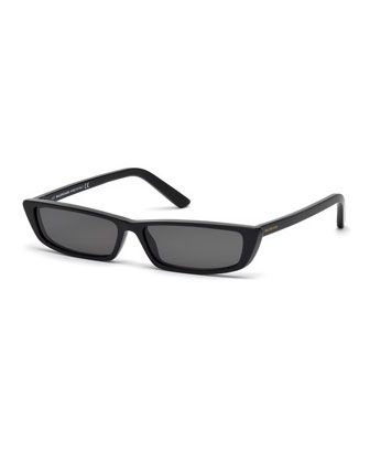 ee89a8f293fb Runway+Rectangle+Sunglasses,+Black++by+Balenciaga+at+Neiman+Marcus.
