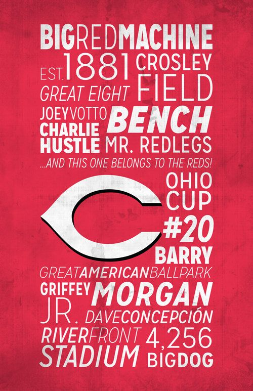 Cincinnati Reds Print by BigLeaguePrints on Etsy