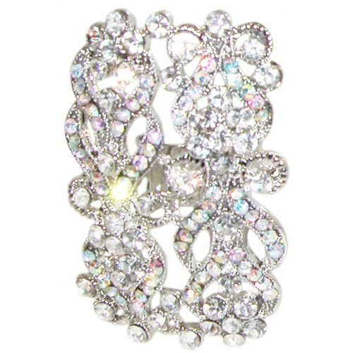 """1 1/4 X 2"""" Rhinestone Cocktail Ring In Crystal with Silver Finish . $12.99"""