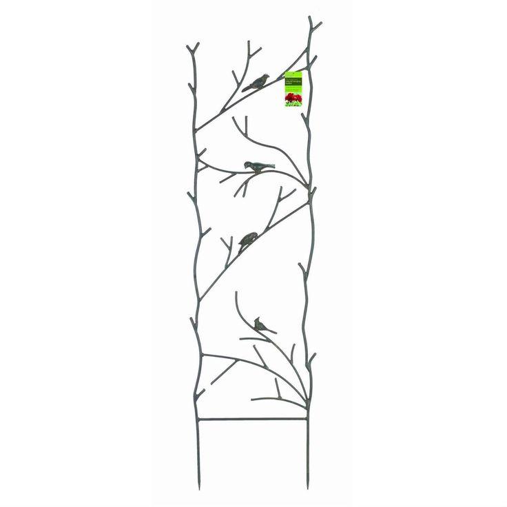 4-Ft High Garden Trellis with Metal Birds Branch Design in Espresso