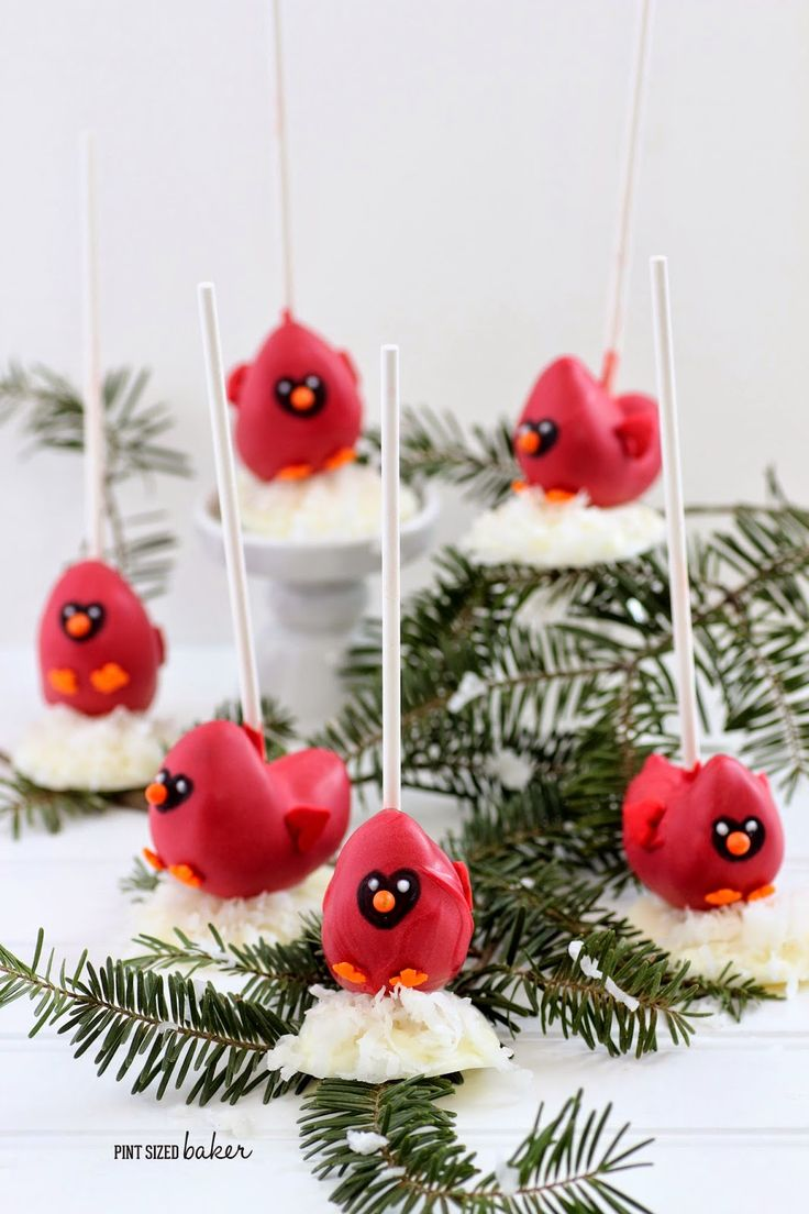 The cutest little Cake Pop Cardinals sitting on a bed of snow! Perfect for a winter treat! #cakepops