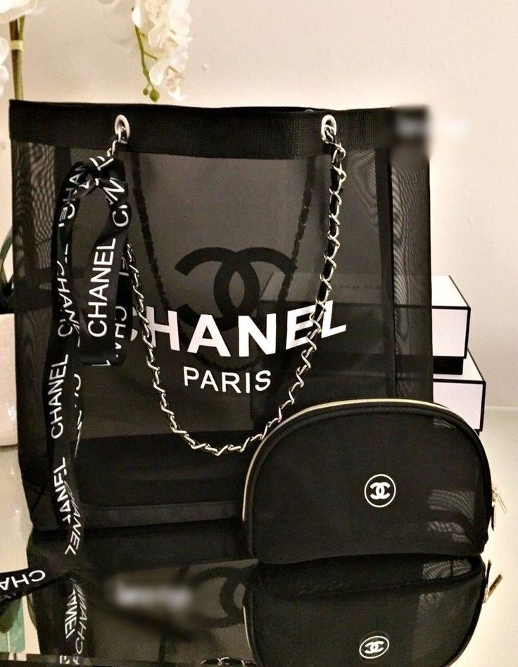Chanel Beauty VIP Gift Mesh Tote Bag with Pouch Silver